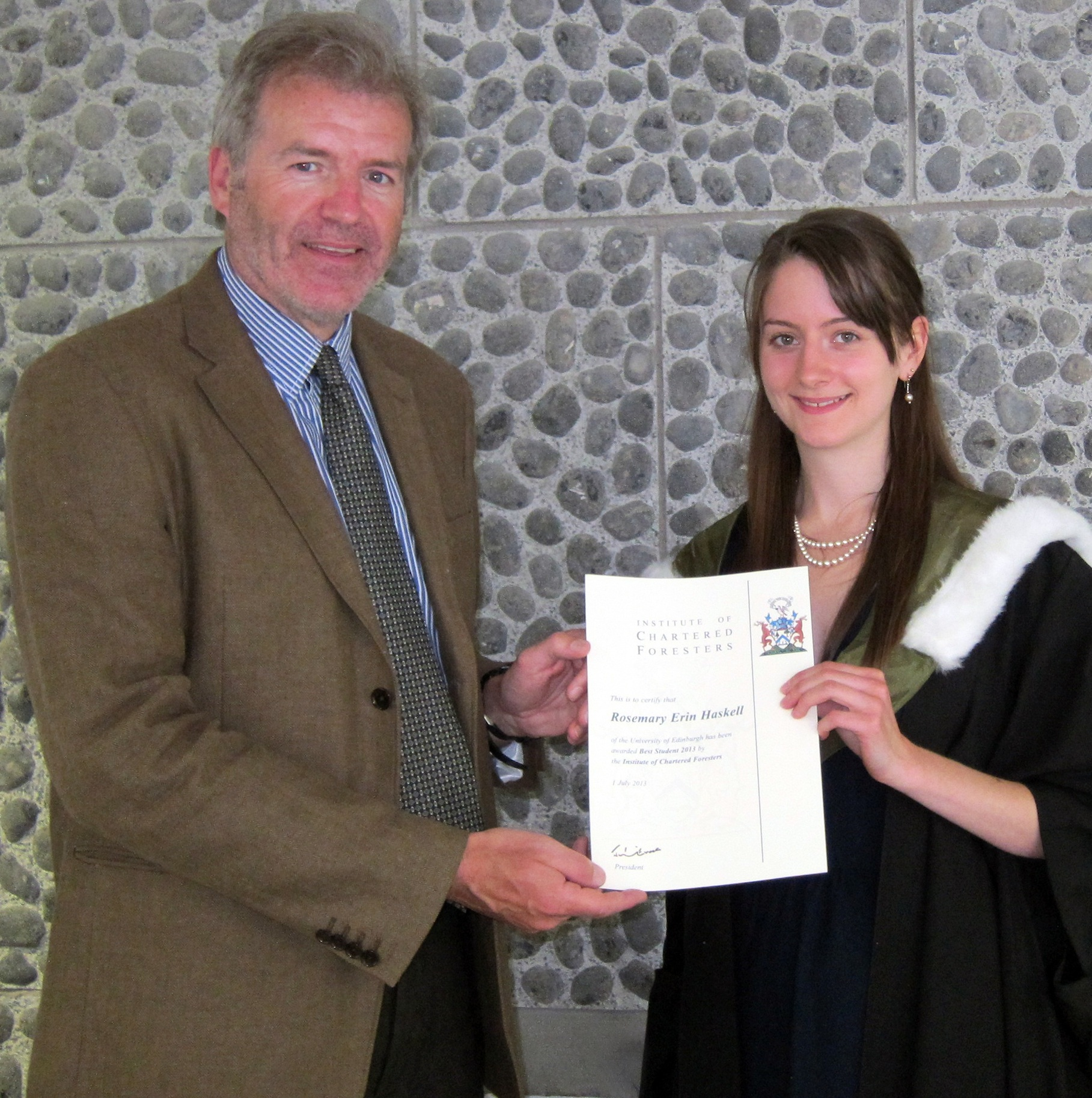 Rosemary Erin Haskell University of Edinburgh Receiving ICF Best Student Award Jul 13